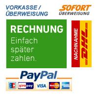 Sichere Zahlung - PayPal, Rechnung, Vorkasse, Sofort Überweisung, DHL Nachnahme