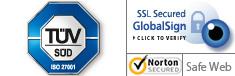 Datensicherheit: TÜV geprüft, Hochgradige SSL Verschlüsselung (AES-256, 256-bit-Schlüssel)